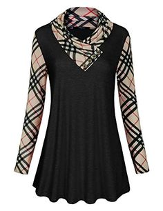 Ckuvysq Patchwork Sleeve Shirt, Womens Plaid Buffalo Splice Color Block Comfy Cotton Striped Loose Soft Tee Ladies Crewneck Pullover Tunic Shirts 2018 Work Long Tops and Blouses Black Medium Tunic Tops For Leggings, Tunic Shirt, Plaid Tunic, Thing 1, Fashion Fabric, Long Tops, Black Blouse, Long Sleeve Tees, Cowl Neck