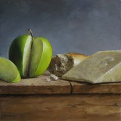 "MICHAEL NAPLES ""Still Life with Green Apple"" Oil on Board. Approx 8""x8"""