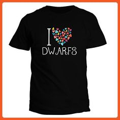 Idakoos I love Dwarfs colorful hearts - Fantasy and Monsters - T-Shirt - Fantasy sci fi shirts (*Partner-Link)