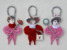 Chenille Valentine Ornaments - Valentine Decorations - Victorian Inspired. $12.00, via Etsy.