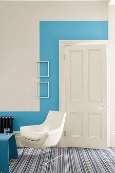 Une déco murale originale créée avec de la peinture bleue : les nouveaux bleus de Little Greene - CôtéMaison.fr