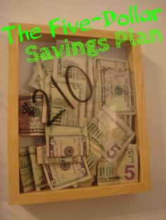 It's very simple. Every time you get a $5 bill, you save it! At the end of the year, you buy yourself something! I saw this idea on Pinterest last year, and decided to try it...it was so fun! Here...