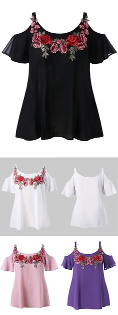 Plus Size Cold Shoulder Embroidered Blouse Plus Size T Shirts, Plus Size Blouses, Dresser, Tank Top Outfits, Scarf Shirt, Crop Top Shirts, Fashion Seasons, Embroidered Blouse, Pretty Outfits
