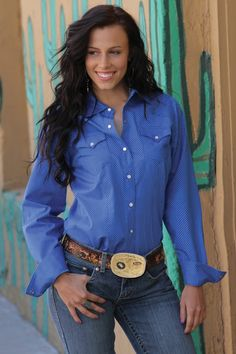 Western Shirts : Blue Dot Shirt - Cruel Jeans, Shirts and Apparel
