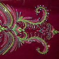 Sitara Indian embroidery. sequins are embroidered into the fabric.