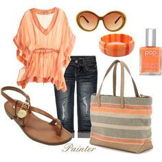 www.gardennearthegreen.com Love the coral/peachy look. Wine trail outfit for Spring/Summer or transitional fall in Texas