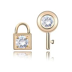 Elegant Key and Lock 18K Gold Plated CZ Cubic Zirconia Earring(More Colors)