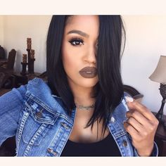 """@colouredraine """"Truffle Raine"""" liquid lipstick. @flutterlashesinc """"makeupshayla"""" lashes.  Hair from @thevirginhairfantasy-> use my coupon code """"makeupshayla"""" and get a discount on ALL hair/hair care."""
