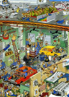 Cars in the Make - Jan van Haasteren puzzels Hidden Pictures, Funny Pictures, Picture Writing Prompts, City Illustration, Puzzle Art, Cartoon Jokes, Arte Horror, Cartoon Art Styles, Picture Description