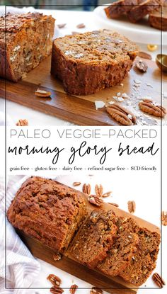 this paleo morning glory bread is a great healthy breakfast, healthy snack or he. - this paleo morning glory bread is a great healthy breakfast, healthy snack or healthy desert option - Paleo Baking, Gluten Free Baking, Gluten Free Recipes, Paleo Bread, Paleo Zucchini Bread, Paleo Banana Bread, Baking Recipes, Healthy Deserts, Healthy Snacks