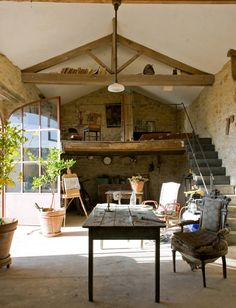 Richard Salmon, British-born art restorer's  Archaeological Rehab, Cahors, France l Studio in one of the barns on the property