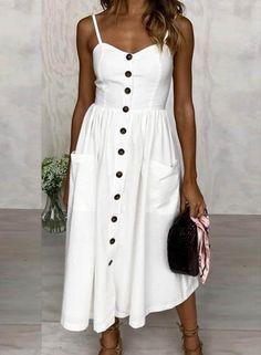 #Spring #AdoreWe #Oasap - #oasap Spaghetti Strap Single Breasted front Dress - AdoreWe.com