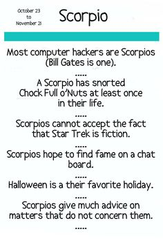 Note+Card+Horoscope+Scorpio+by+Pegalee+on+Etsy,+$3.00. Funny!