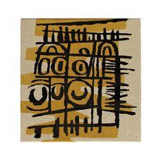 Sgraffito II - Textile Panel Sgraffito, Natural Linen, Birthday Wishes, Screen Printing, Mid Century, Textiles, Ceramics, Canvas, Drawings
