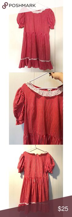 Vintage striped dress Cute red and white striped babydoll dress, poofy sleeves. Extra fabric on sleeve to make poofy. Vintage, good for Halloween, Lolita style, clown, doll. One size, good vintage condition. Photod on a medium. Dresses