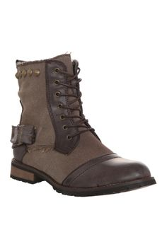 Brown combat style boots with stud and buckle accents.
