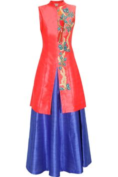 Coral bird embroidered long achkan jacket with blue skirt lehenga available only at Pernia's Pop Up Shop.