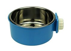 LESYPET Stainless Steel Dog Bowl Hanging Food Water Pets Bowl for Dog Cat Bird with Bolt Holder Blue *** Find out more about the great product at the image link. Note: It's an affiliate link to Amazon.