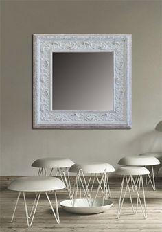 Marco con talla blanco decapado moldura de madera de 7 cm - Espejos sin marco ikea ...