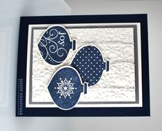 Blue and white again!! I have the background embossing folder and my sister has this stamp and punch set. A card similar to this will probably make our holiday card stack.