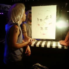 Portrait being done of Pier-Helene during the Warhol factory night at Second Floor. Photo by featherstonevintage