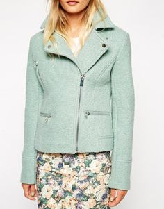 Image 3 of ASOS Biker Jacket in Textured Wool