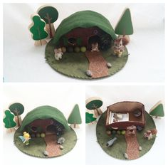 House in the Hill Playscape Play Mat - wool felt pretend storytelling storybook fairytale fantasy dollhouse peg doll gnome fairy rabbit by MyBigWorld2015 on Etsy