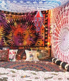 Inspire you bedroom decor with hippie boho inspired Tapestry. A hippie boho ethnic tapestry with mandala, elephant, tree Hippie Bedroom Decor, Hippy Bedroom, Boho Room, Hippie Home Decor, Boho Decor, Vintage Hippie Bedroom, Boho Tapestry, Tapestry Wall, Bedroom With Tapestry