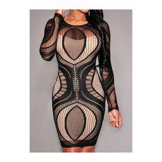 Rotita Fishnet Splicing Solid Black Mini Dress ($21) ❤ liked on Polyvore featuring dresses, black, short sleeve dress, sexy short dresses, fishnet mini dress, sleeve dress and short dresses