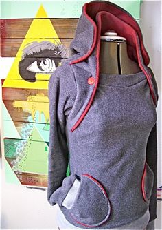the Amazing Hoodie-- double collar hooded sweatshirt, buttoned versatility, pockets delight. $76.00, via Etsy.
