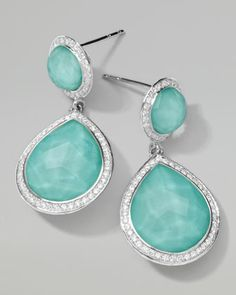 Received, thank you!!!  Ippolita Stella 2-Stone Drop Earrings in Turquoise Doublet with Diamonds