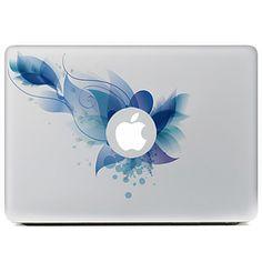 flor azul decorativo adhesivo para el aire del macbook / pro / pro con pantalla de retina – USD $ 8.99