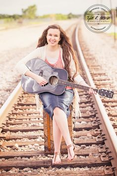 Rachel Brown - Plano Sr. High School - Senior Pictures - Class of 2015 - Senior Portraits - Ideas for Girls - #seniorportraits - Train Tracks - #seniorpics - Acoustic - Guitar - Adorable - Frisco Square - Tyler R. Brown Photography
