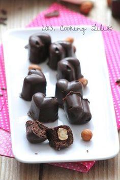 Chocolats maison fourrés à la ganache Chocolat et Noisettes