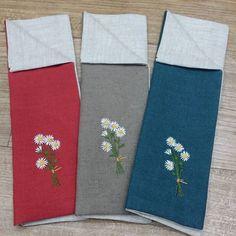 개망초  리넨 수저집~ 리넨색감이 넘 곱다~ #flower hand  embroidery  spooncase  #개망초수저집#야생화자수#수저집 #개망초