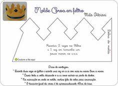 Coroa de feltro com molde - Como Fazer Felt Crafts, Diy And Crafts, Felt Flower Template, Felt Crown, Waldorf Toys, Crochet Art, Sewing For Kids, Felt Flowers, Bird Art