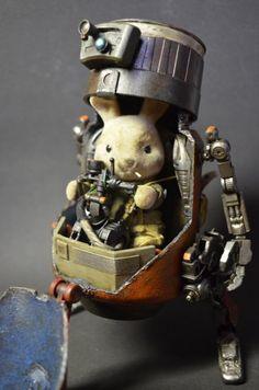 Guy Turns Cute Bunny Toy Into Battle-Hardened Mech Dirigible Steampunk, Robot Cute, Arte Steampunk, Steampunk Robots, Arte Robot, Sylvanian Families, Bunny Toys, Bunnies, Designer Toys