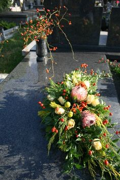 . Easter Flower Arrangements, Easter Flowers, Fall Flowers, Floral Arrangements, Casket Sprays, Grave Decorations, All Souls Day, Sympathy Flowers, Funeral Flowers