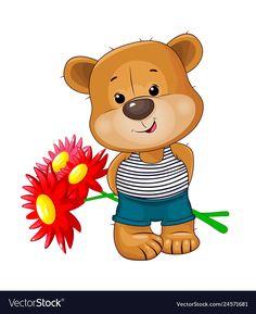 Cute bear with a bouquet of flowers Royalty Free Vector Bear Cartoon, Cute Teddy Bears, Red Flowers, Love Art, Cute Drawings, Adobe Illustrator, Winnie The Pooh, Vector Free, Bouquet