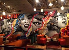 Vandal NYC: 5 Things to Know About Tao Group's Bowery Behemoth Street food and street art meet on the Bowery at Vandal Bar Design, Coffee Shop Design, Food Design, Interior Design Magazine, Restaurant Interior Design, Art Mural, Wall Art, Art Restaurant, Nightclub Design