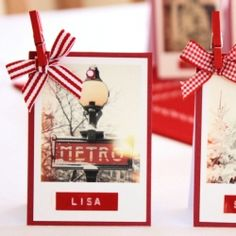 Make retro place cards using an embossing label maker and Polaroids.