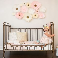 Love the floral look but don�t want the commitment of wallpaper? We adore this crepe paper wall flower set for your own nursery, kids room or playroom! Shop our full assortment of wall d�cor at shop.projectnursery.com