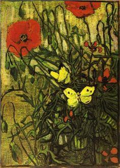 Poppies and Butterflies  - Vincent van Gogh - Van Gogh Up Close, National Gallery 2012 Vincent Van Gogh, Arte Van Gogh, Van Gogh Art, Fauves, Poppies, Butterfly, Dutch Artists, Art Van, Modern Painting