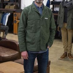 Olive Reversed Sateen Workers Jacket. Exclusively designed by #engineeredgarments for #thebureaubelfast