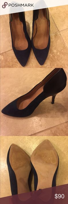 """Madewell Two-Tone Pumps Navy suede with black leather back. Only worn once! Heel approx. 3.5"""" Madewell Shoes Heels"""