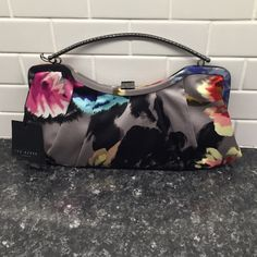 Ted Baker Primrose Print Satin Clutch Adorable clutch- metal handle can go inside when not in use. Brand new with tags❤️z#0206 Ted Baker Bags Clutches & Wristlets