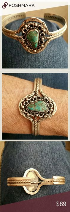 vintage Boho Sterling silver & turquoise  bracelet Pretty design surrounds this genuine turquoise cuff bracelet. STERLING SILVER. Measurements inside the bracelet is 6 inch circumference and a 1-inch Gap Jewelry Bracelets