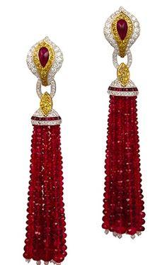 Platinum Ruby Beads, White & Yellow Diamonds Tassle Earrings - Yafa Jewelry