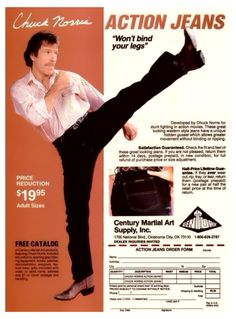 1980s Men's Fashion Advertisement with Chuck Norris.