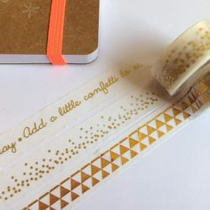 gold foil washi tape, gold, foil, metallic, planner, journal,  words, stars, scrapbook, white, writing